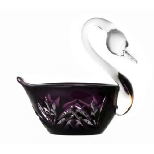 Crystal swan Miniature, color violet, diameter 100 mm