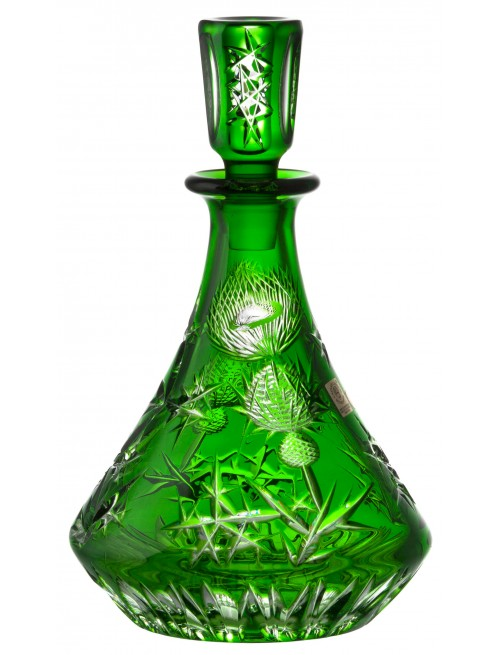 Crystal bottle Thistle, color green, volume 800 ml