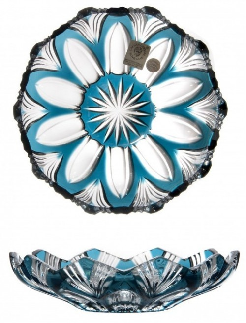 Crystal Plate Lotus, color azure, diameter 145 mm