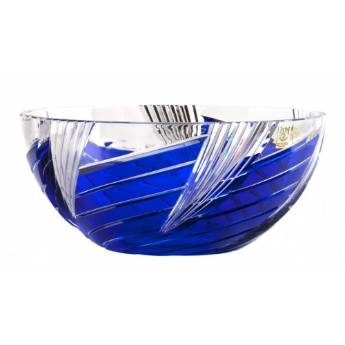 Crystal Bowl Whirl, color blue, diameter 250 mm