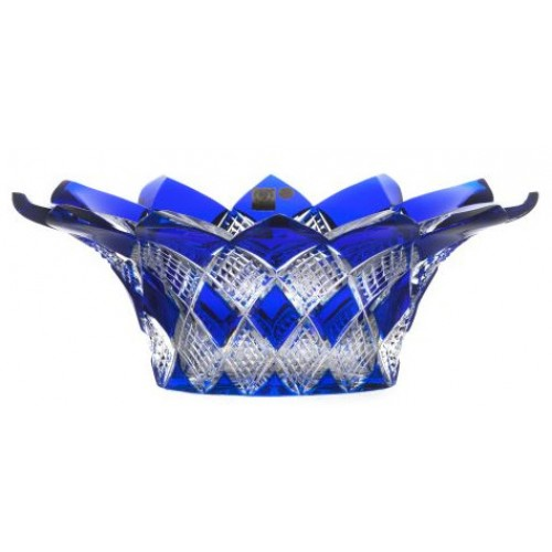 Crystal bowl Harlequin, color blue, diameter 300 mm