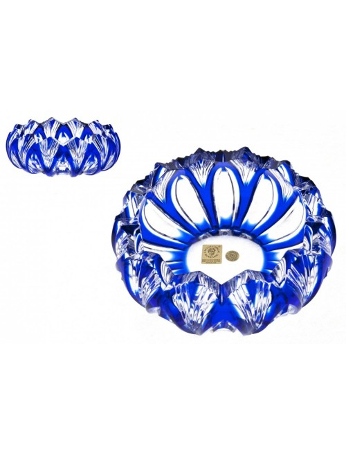 Crystal Ashtray Lotus, color blue, diameter 155 mm