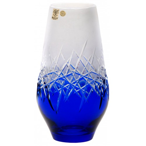 Crystal Vase Hoarfrost, color blue, height 255 mm