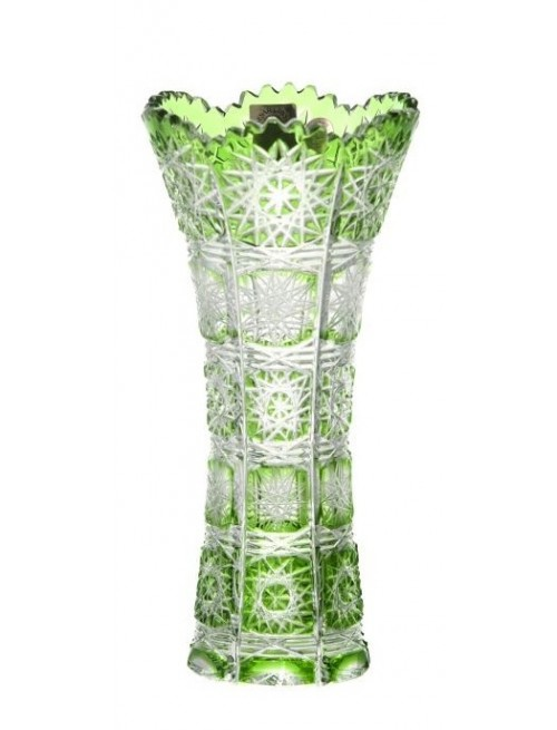 Crystal Vase Paula I, color green, height 180 mm