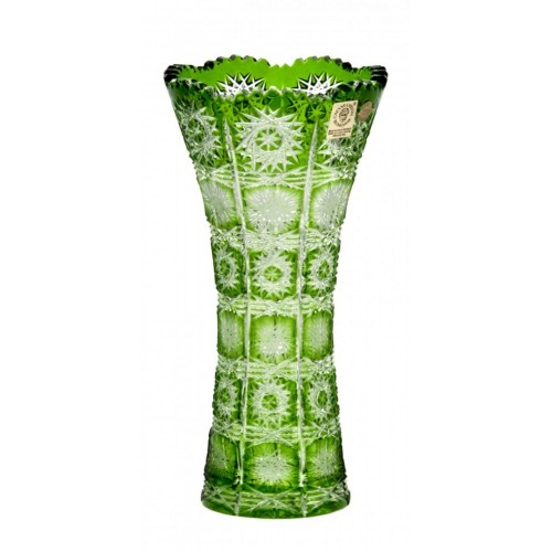 Crystal Vase Paula, color green, height 200 mm