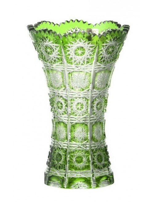 Crystal Vase Paula II, color green, height 180 mm