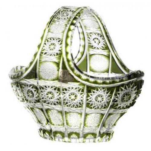 Crystal basket Paula, color green, diameter 200 mm