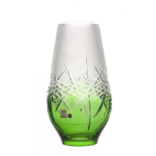 Crystal Vase Hoarfrost, color green, height 255 mm