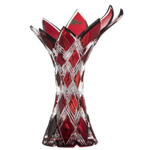 Crystal Vase Harlequin, color ruby, height 270 mm