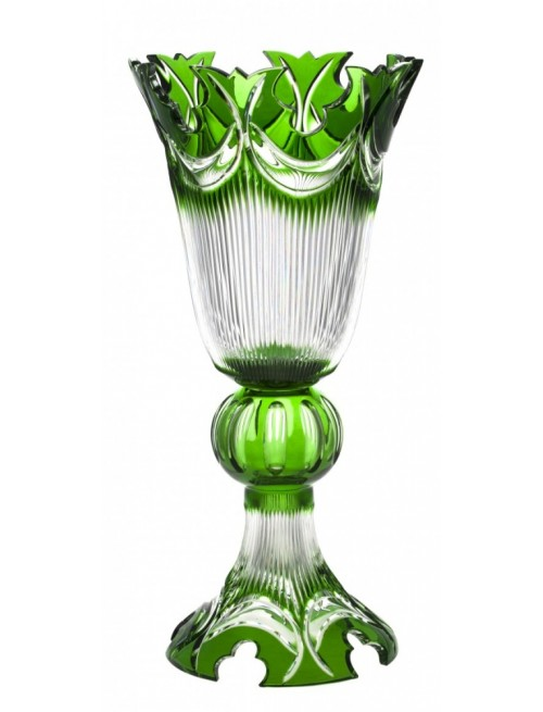 Crystal Vase Diadem, color green, height 505 mm