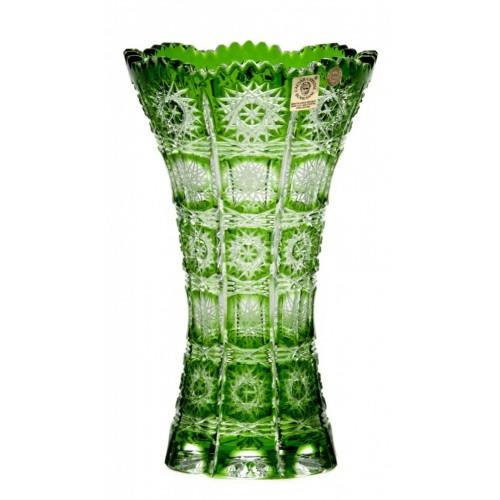 Crystal Vase Paula III, color green, height 205 mm