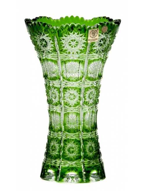 Crystal Vase Paula III, color green, height 205 mm