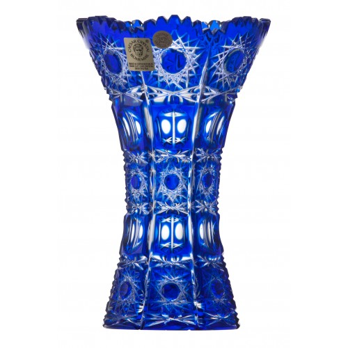 Crystal Vase Petra, color blue, height 155 mm