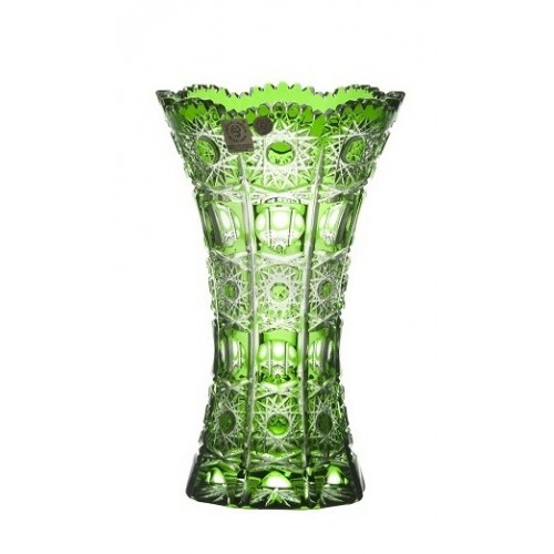 Crystal Vase Petra, color green, height 205 mm