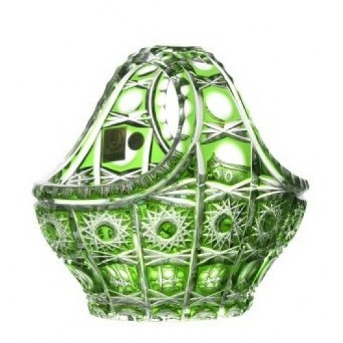 Crystal Basket Petra, color green, diameter 150 mm