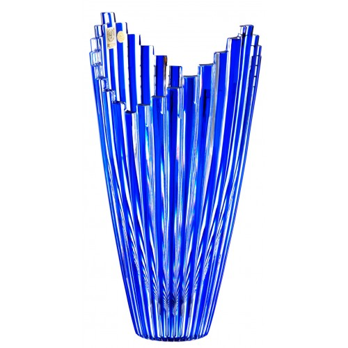 Crystal Vase Mikado, color blue, height 270 mm
