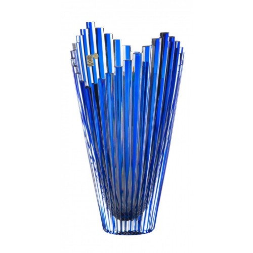 Crystal Vase Mikado, color blue, height 310 mm