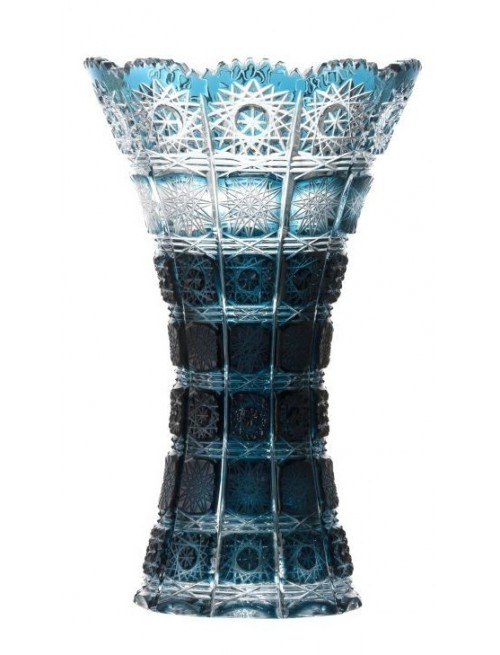 Crystal Vase Paula, color azure, height 255 mm