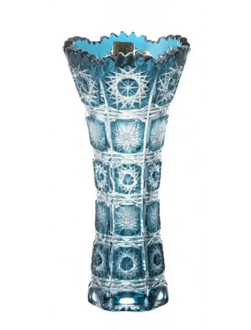 Crystal Vase Paula I, color azure, height 180 mm