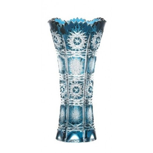 Crystal Vase Paula, color azure, height 150 mm