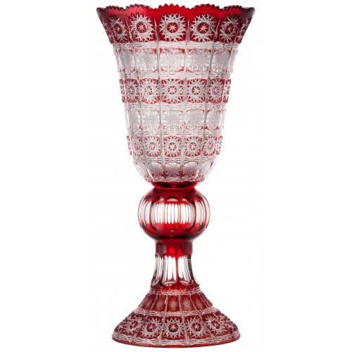 Crystal Vase Paula, color ruby, height 505 mm