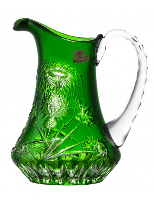 Crystal pitcher Thistle, color green, volume 950 ml