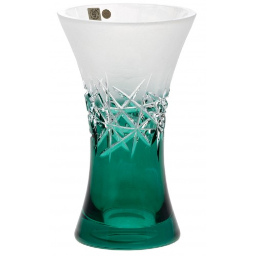 Crystal vase Hoarfrost, color azure, height 230 mm
