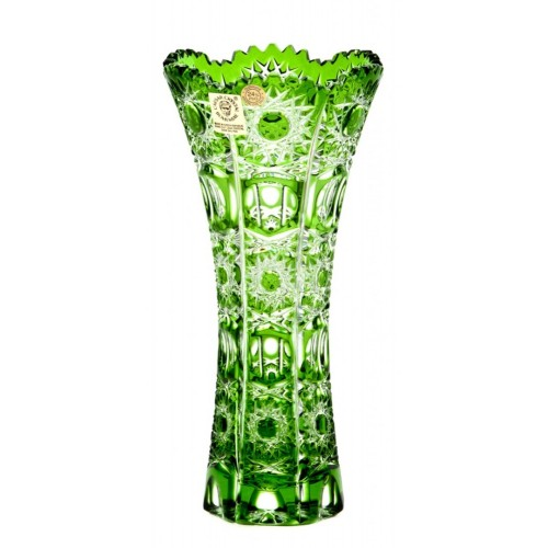 Crystal Vase Petra II, color green, height 180 mm
