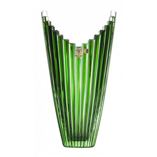 Crystal Vase Mikado, color green, height 270 mm
