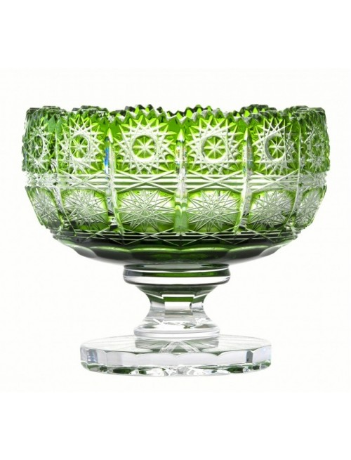 Crystal Footed Bowl Paula, color green, diameter 155 mm
