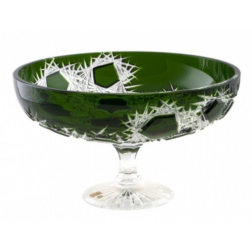 Crystal Footed Bowl Frost, color green, diameter 330 mm