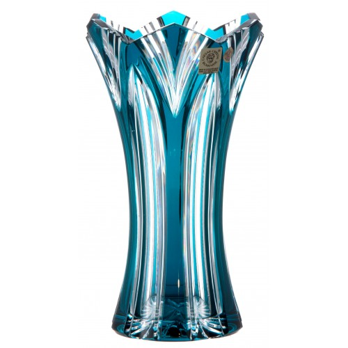 Crystal Vase Lotos, color azure, height 205 mm