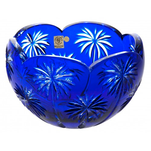 Crystal bowl Palm, color blue, diameter 200 mm