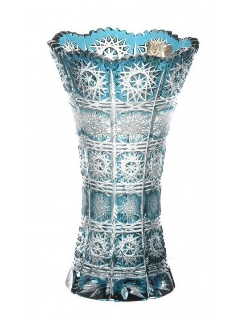 Crystal Vase Paula II, color azure, height 205 mm