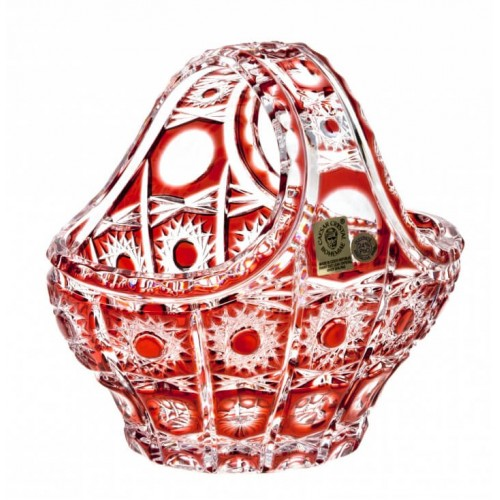 Crystal Basket Petra, color ruby, diameter 150 mm