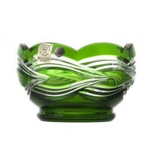 Crystal Bowl Sgrafito, color green, diameter 110 mm