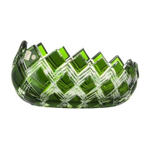 Crystal Bowl Harlequin, color green, diameter 255 mm