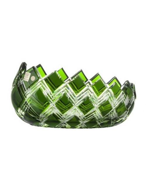 Crystal Bowl Harlequin, color green, diameter 255 mm