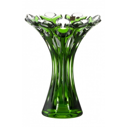 Crystal Vase Flamenco, color green, height 250 mm