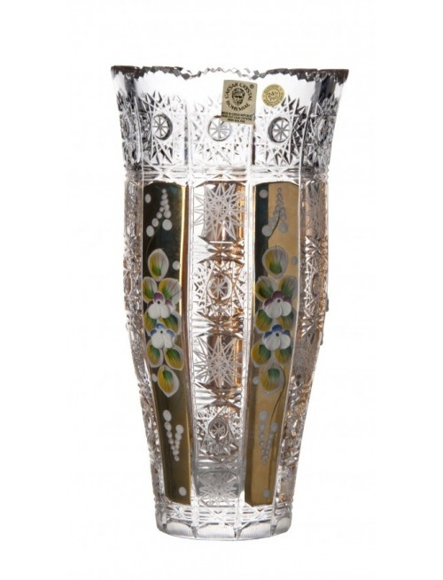 Crystal Vase 500K gold III, color clear crystal, height 205 mm