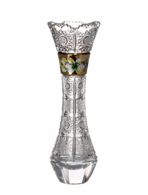Crystal Vase 500K gold, color clear crystal, height 280 mm
