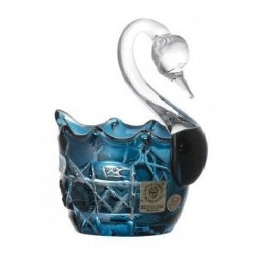 Crystal Swan Octagon, color azure, diameter 80 mm