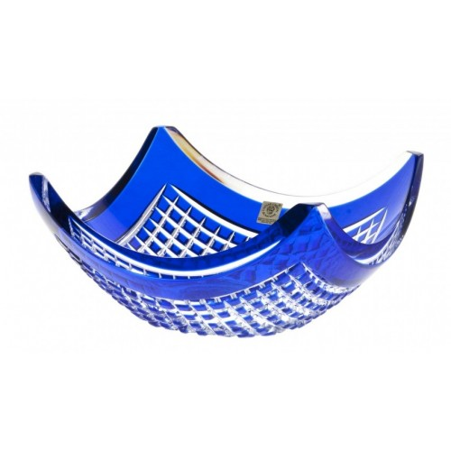 Crystal Bowl Quadrus, color blue, diameter 280 mm