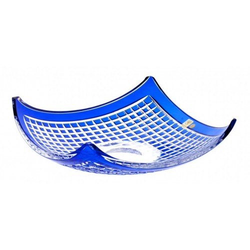 Crystal Bowl Quadrus, color blue, diameter 350 mm