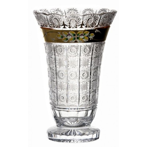 Crystal Vase 500K gold, color clear crystal, height 355 mm
