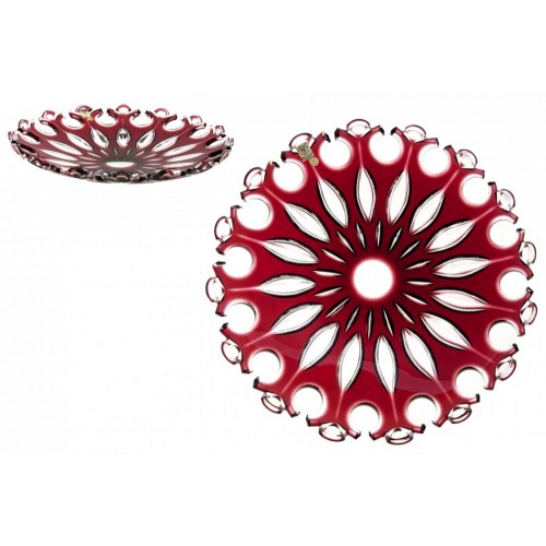 Crystal Plate Flamenco, color ruby, diameter 350 mm