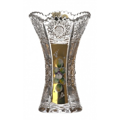 Crystal Vase 500K gold, color clear crystal, height 155 mm