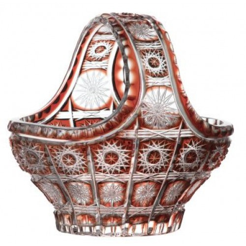 Crystal Basket Paula, color ruby, diameter 150 mm