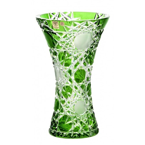 Crystal Vase Flake, color green, height 255 mm