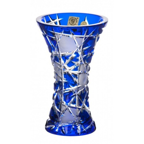 Crystal Vase Mars, color blue, height 155 mm